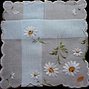 Vintage Hankie Embroidered Daisies On Pale Blue Original Label Unused