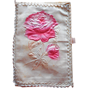Antique French Hankie Fold Case Pink Rose WWI Soldier Souvenir