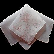 Madeira Hankie Pink Hand Embroidery Unused Vintage Linen