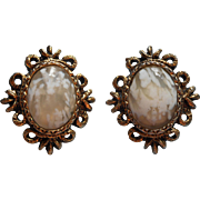 Vintage 1960s Earrings Glass Faux Agate Antique Gold Color Finish Clip