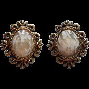 Vintage 1960s Earrings Glass Faux Agate Antique Gold Color Finish Clip