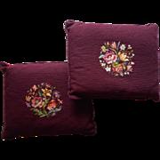 Pair Vintage Needlepoint Pillows Burgundy Wool Bouquet Pillow