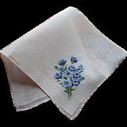 Vintage Hankie Hand Embroidered Cornflowers Original Label Unused