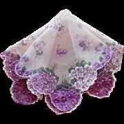 Vintage Hankie Sheer Printed Nylon Violets Print