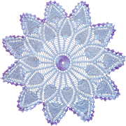 Vintage Purple White Pineapple Crocheted Lace Centerpiece Doily