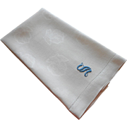 Monogram S Antique Damask Linen Towel Blue On White