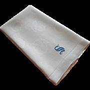 Monogram S Antique Damask Linen Towel Blue On White