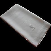 Monogram S Antique Damask Linen Towel TLC Needed