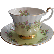 Royal Albert 4364 Pattern Cup Saucer Vintage Bone China Mint Green