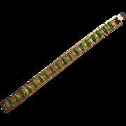 Vintage Bracelet Faux  Jade Molded Glass
