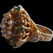 Vintage Florenza Ring Faux Seed Pearls Faux Demantoid Garnets Victorian Revival