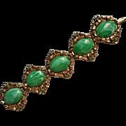 Vintage Bracelet Ornate Big Green Plastic Cabochons Faux Pearl Faux Emerald
