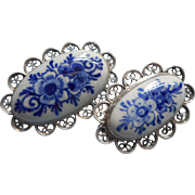 Vintage Delft China Pair Filigree Pin Pins Holland Delfts