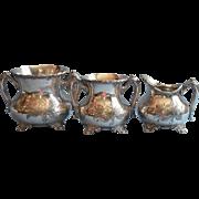 Antique Silver Plated Waste Bowl Sugar Bowl Creamer Victorian
