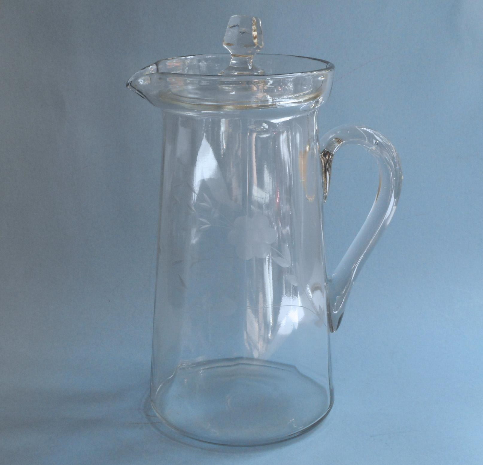 antique glass pitcher w lid engraved flowers lemonade iced tea  - roll over large image to magnify click large image to zoom