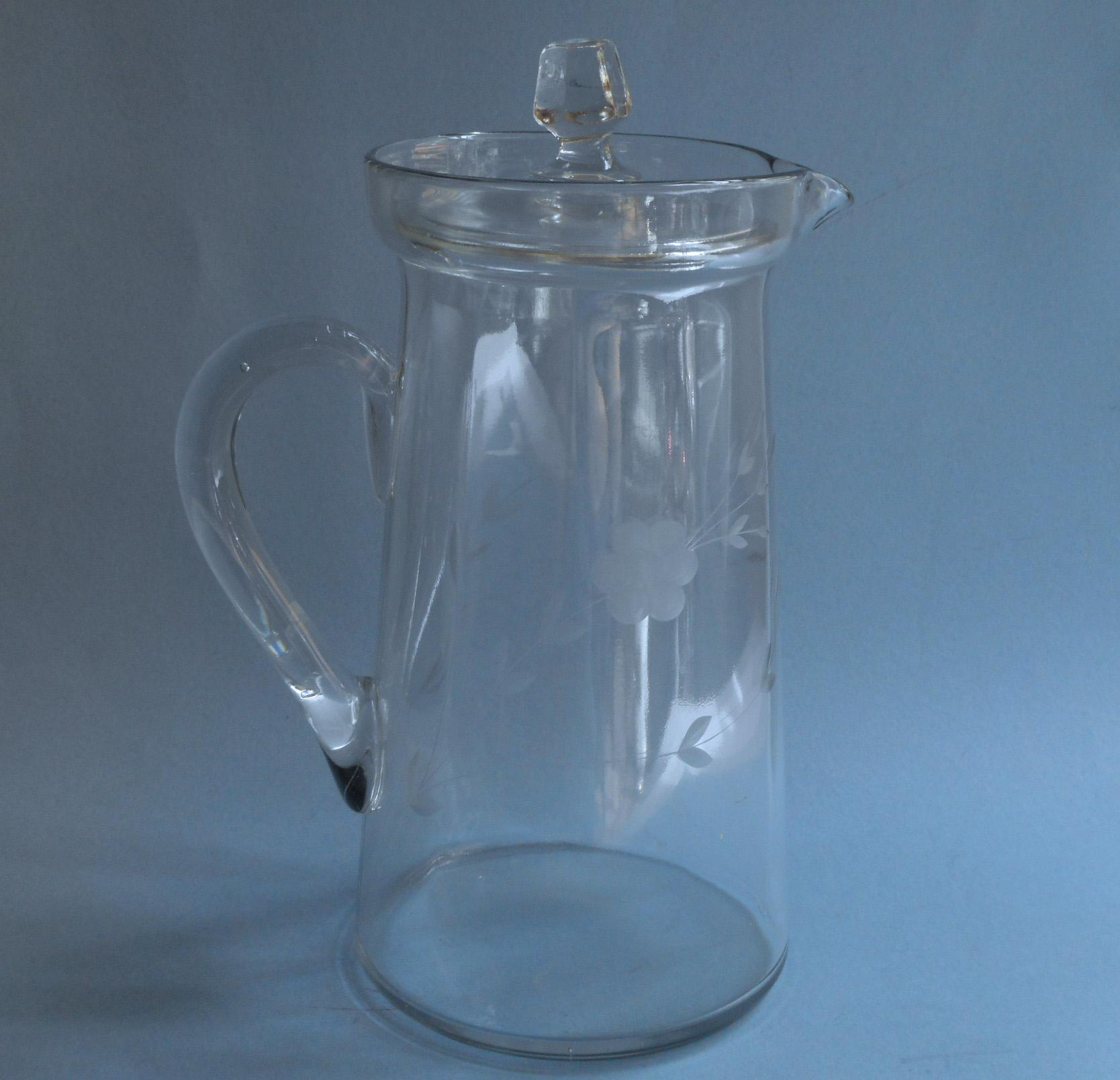Antique Glass Pitcher W Lid Engraved Flowers Lemonade Iced