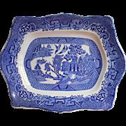 Vintage Steventon Blue Willow China Platter Cartouche Shape Venton Ware