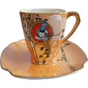 1920s Noritake Luster Demitasse Cup Saucer Exotic Bird Hand Painted