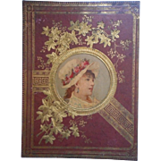 Victorian Scrapbook Cover Pretty Lady Lithograph Gold Antique