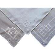 3 Vintage Hankies Linen Drawnwork Hand Embroidery