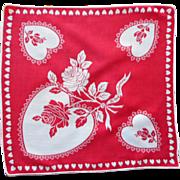 Vintage Hankie Valentine Valentine's Day Print Cotton