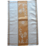 Vintage Czech Linen Towel Damask Rooster Golden Color w White