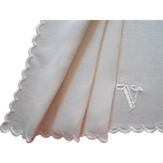 Monogram V Antique Dresser Scarf Simple Scalloped Embroidery