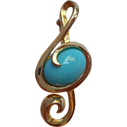 Vintage Pin Signed BEST Clef Turquoise Colored Glass Cabochon Music