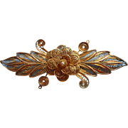 Vintage Canetille Filigree Pin Flower Leaves