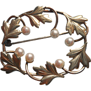 Cultured Pearls Gold Filled Vintage Signed Carl Art Pin Victorian Revival