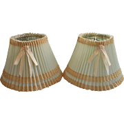 Pair Vintage 1940s Boudoir Lamp Shades Pale Blue Green Plastic Lace