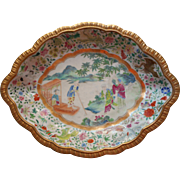 Vintage Chinese Hand Painted China Bowl Unusual Famille Rose Gold Aqua