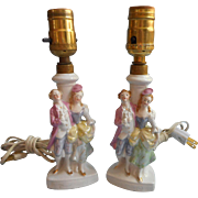 Vintage 1930s Lamps Boudoir Vanity German Pastel Luster Figurine French Lady Lord