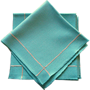 MCM Aqua Vintage Napkins Gold Metallic Trim