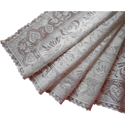Vintage Lace Runner Cotton Machined Filet Leaf Motifs