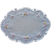 Vintage 1920s Doily Sweet Pastel Hand Embroidery