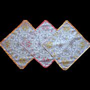 3 Vintage Hankies Matching Cotton Printed Bows Flowers