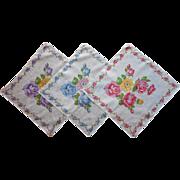 3 Vintage Hankies Matching Cotton Printed Roses Pink Blue Purple