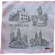 Vintage Hankie Souvenir St. Gallen Pink Print Original Label
