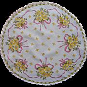 Vintage Hankie Round Printed Cotton Pink Bows Yellow Wild Roses