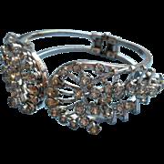 Clamper Bracelet Vintage Rhinestone Silver Tone Metal