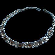 Lisner Smoke Rhinestones AB Vintage Necklace Gray TLC