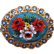 Vintage Mosaic Pin Brooch Glass Bright Flowers
