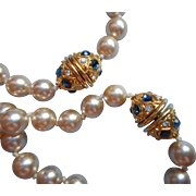 Pair Vintage Faux Pearl Necklace Necklaces Nolan Miller Faux Sapphires