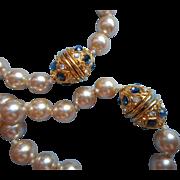 Pair Vintage Faux Pearl Necklace Necklaces Nolan Miller Faux Sapphires