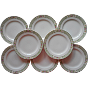 French Limoges China 8 Bread Plates Antique Pink Green White