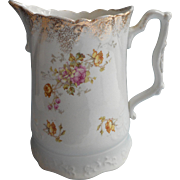 Antique Milk Pitcher China Pink Roses Spangled Gold