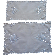 Cutwork Doilies Vintage Madeira Linen  Blue On White Hand Embroidery