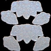 2 Sets Crocheted Lace Chair Doilies Antimacassar Pineapple Crochet
