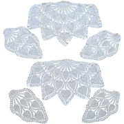 2 Sets Crocheted Lace Chair Doilies Antimacassar Pineapple Crochet